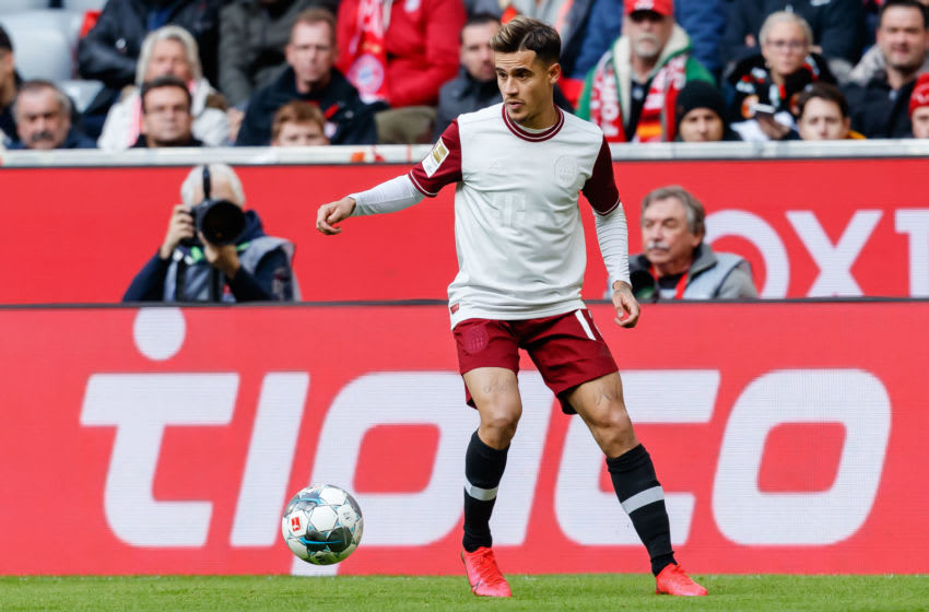 MUNICH, GERMANY - MARCH 08: (BILD ZEITUNG OUT) Philippe Coutinho of Bayern Muenchen controls the ball during the Bundesliga match between FC Bayern Muenchen and FC Augsburg at Allianz Arena on March 8, 2020 in Munich, Germany. (Photo by Roland Krivec/DeFodi Images via Getty Images)