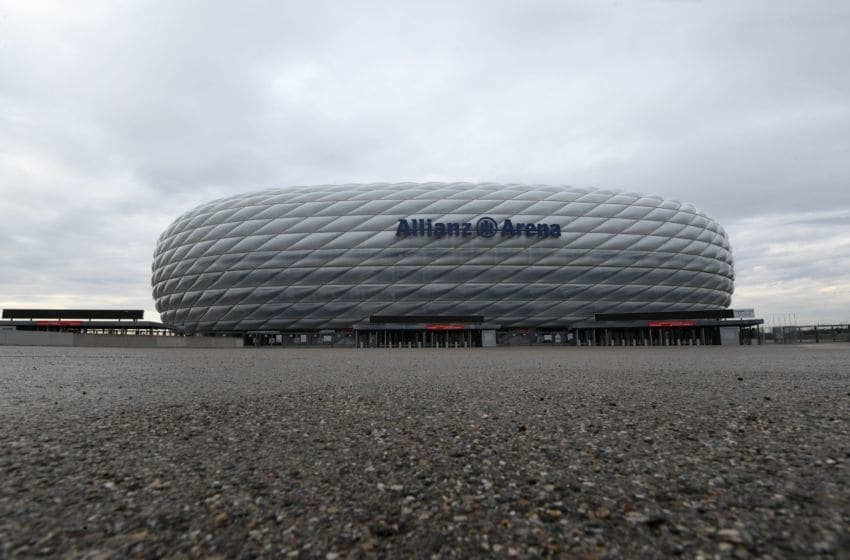 The Allianz Arena, a venue for the UEFA EURO 2020 football championship, is pictured in Munich, southern Germany on March 17, 2020. - The European championship, due to be played in June and July this year, has been postponed until 2021 because of the coronavirus pandemic, European football's governing body UEFA said on March 17, 2020. (Photo by Christof STACHE / AFP) (Photo by CHRISTOF STACHE/AFP via Getty Images)