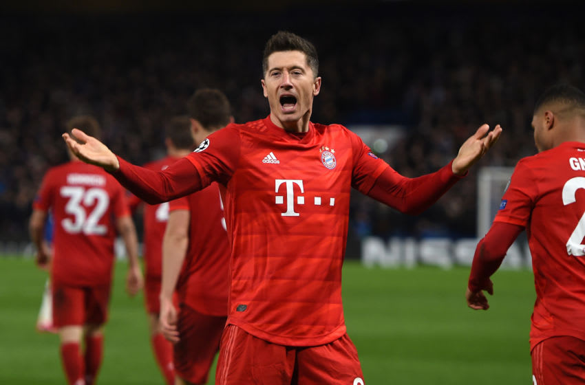 LONDON, ENGLAND - FEBRUARY 25: Robert Lewandowski of FC Bayern Munich celebrates following his team's first goal during the UEFA Champions League round of 16 first leg match between Chelsea FC and FC Bayern Muenchen at Stamford Bridge on February 25, 2020 in London, United Kingdom. (Photo by Harriet Lander/Copa/Getty Images)