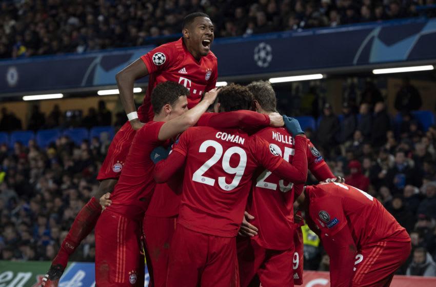 Bayern Munich players celebrating against Champions League at Stamford Bridge. (Photo by Visionhaus)