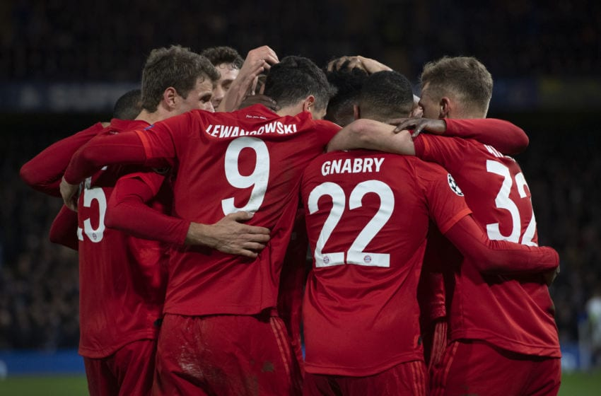 LONDON, ENGLAND - FEBRUARY 25: FC Bayern Munchen players celebrate the third goal during the UEFA Champions League round of 16 first leg match between Chelsea FC and FC Bayern Muenchen at Stamford Bridge on February 25, 2020 in London, United Kingdom. (Photo by Visionhaus)