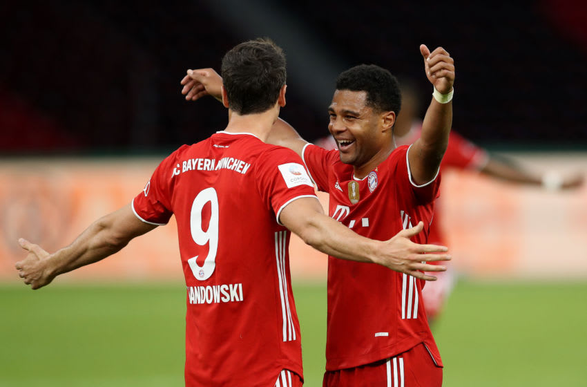 Robert Lewandowski and Serge Gnabry, FC Bayern Munich. (Photo by ALEXANDER HASSENSTEIN/POOL/AFP via Getty Images)