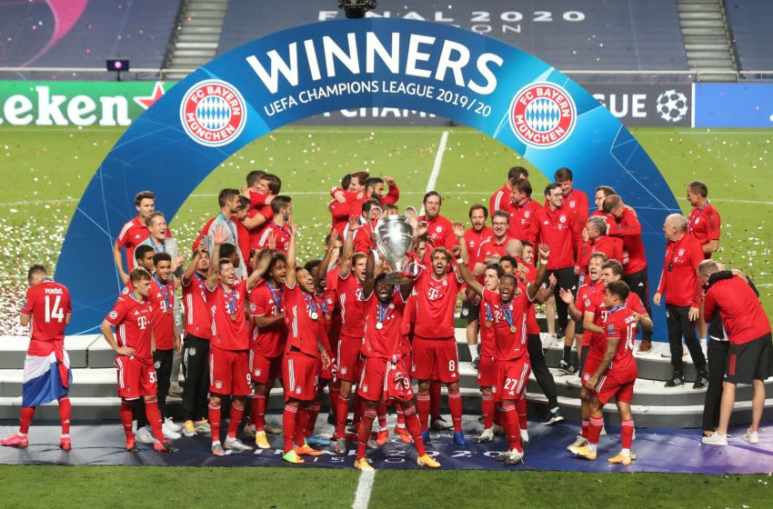 Bayern Munich players celebrating the Champions League victory.(Photo by MIGUEL A. LOPES/POOL/AFP via Getty Images)