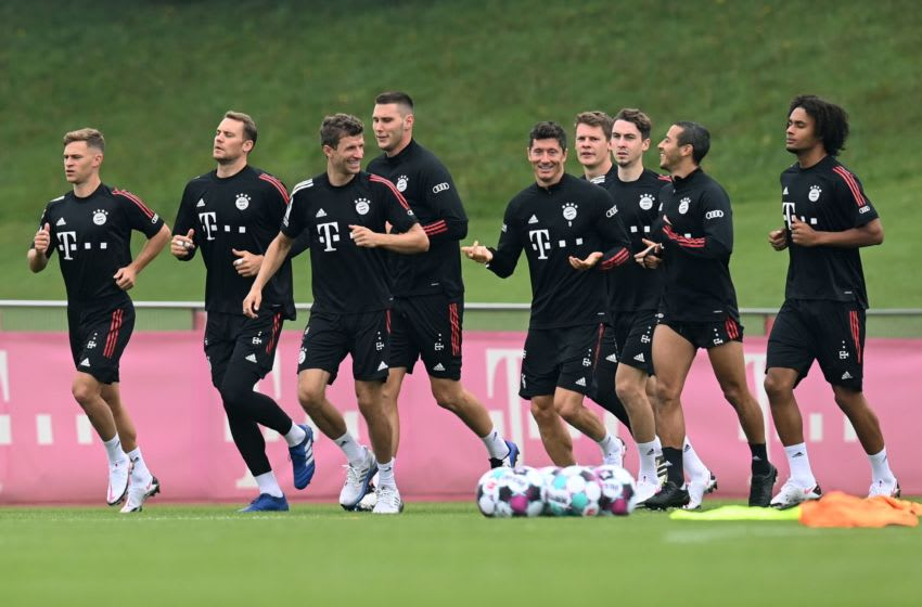 Bayern Munich players training at Sabner Strasse. (Photo by Christof STACHE / AFP) / Adding names in this photo by Christof STACHE . Please immediately remove the erroneous mention[s] from all your online services and delete it (them) from your servers. If you have been authorized by AFP to distribute it (them) to third parties, please ensure that the same actions are carried out by them. Failure to promptly comply with these instructions will entail liability on your part for any continued or post notification usage. Therefore we thank you very much for all your attention and prompt action. We are sorry for the inconvenience this notification may cause and remain at your disposal for any further information you may require. (Photo by CHRISTOF STACHE/AFP via Getty Images)