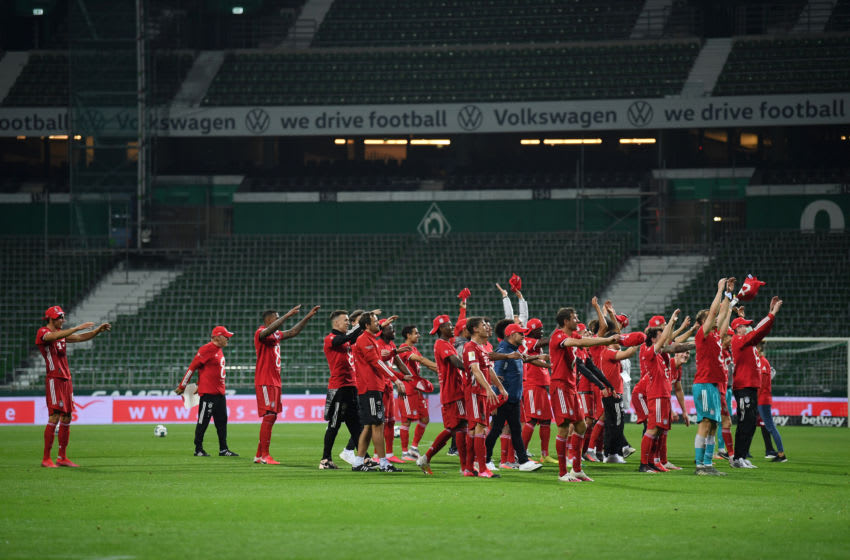 Bayern Munich celebrating against Werder Bremen. (Photo by Stuart Franklin/Getty Images)