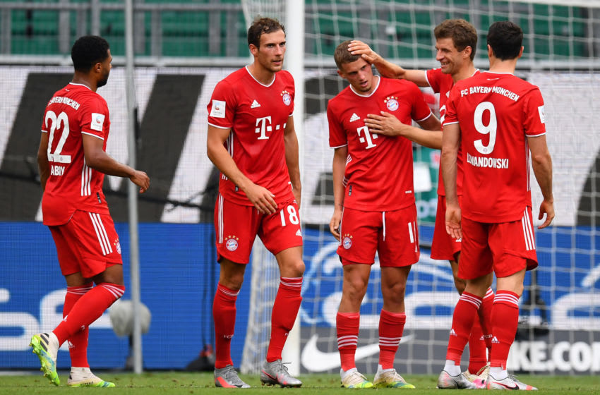 Bayern Munich players celebrating against Wolfsburg. (Photo by Stuart Franklin/Getty Images)