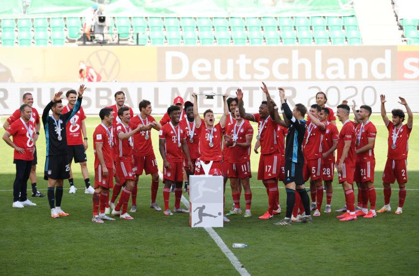 Bayern Munich players celebrating Bundesliga title win. (Photo by Stuart Franklin/Getty Images)