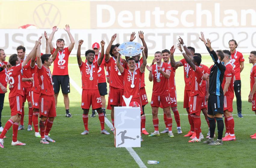 Bayern Munich players celebrating Bundesliga title win on Saturday. (Photo by Stuart Franklin/Getty Images)