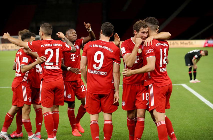 Bayern Munich players celebrating against Bayer Leverkusen. (Photo by Alexander Hassenstein/Getty Images)