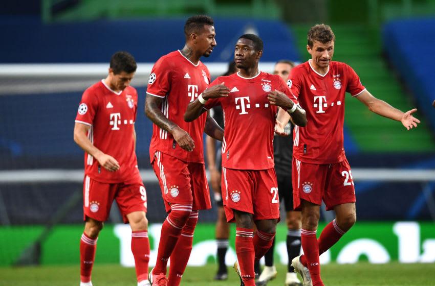 David Alaba, Thomas Muller and Jerome Boateng, FC Bayern Munich. (Photo by Franck Fife/Pool via Getty Images)