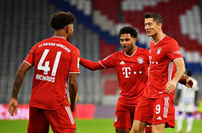 Robert Lewandowski, Serge Gnabry, and Chris Richards, FC Bayern Munich. (Photo by Sebastian Widmann/Getty Images)