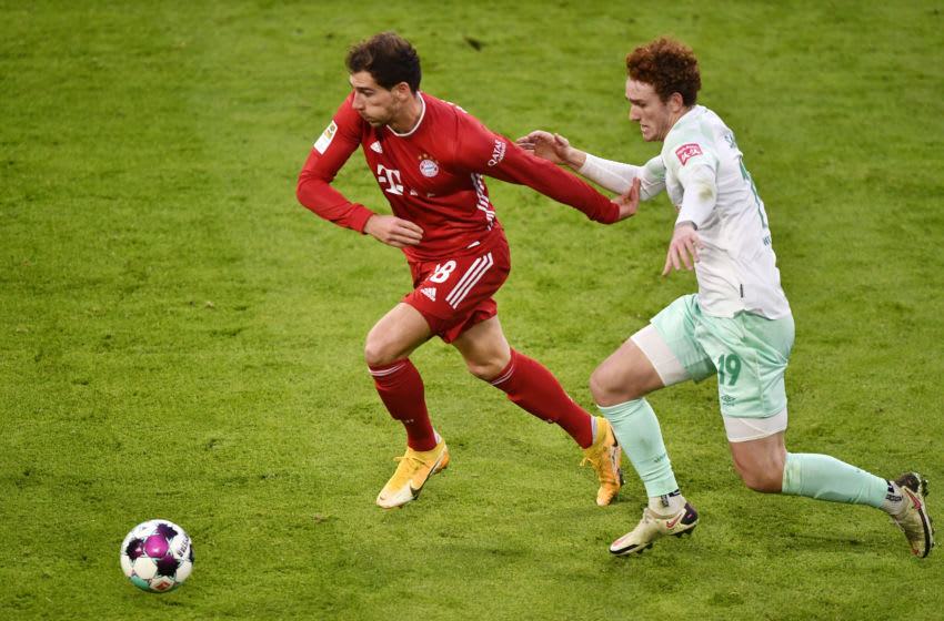 Bayern Munich midfielder Leon Goretzka and his teammates looked off the pace against Werder Bremen. (Photo by Lukas Barth-Tuttas - Pool/Getty Images)