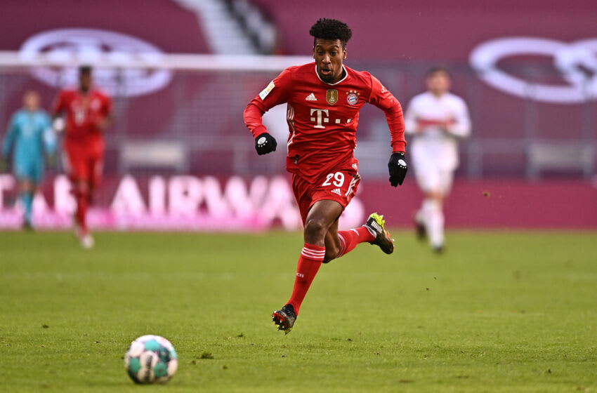 Bayern Munich winger Kingsley Coman is reportedly eyeing a move to Premier League. (Photo by Lukas Barth-Tuttas - Pool/Getty Images)