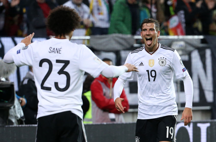 KAISERSLAUTERN, GERMANY - OCTOBER 8: Leon Goretzka of Germany celebrates his second goal with Leroy Sane (left) during the FIFA 2018 World Cup Qualifier between Germany and Azerbaijan at Fritz-Walter Stadium on October 8, 2017 in Kaiserslautern, Germany. (Photo by Jean Catuffe/Getty Images)
