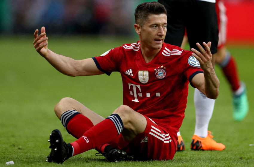BERLIN, GERMANY - MAY 19: Robert Lewandowski of Bayern Muenchen reacts during the DFB Cup final between Bayern Muenchen and Eintracht Frankfurt at Olympiastadion on May 19, 2018 in Berlin, Germany. (Photo by Lars Baron/Bongarts/Getty Images)