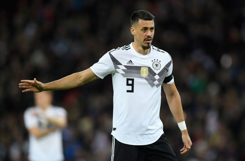 LONDON, ENGLAND - NOVEMBER 10: Sandro Wagner of Germany reacts during the International friendly match between England and Germany at Wembley Stadium on November 10, 2017 in London, England. (Photo by Matthias Hangst/Bongarts/Getty Images)