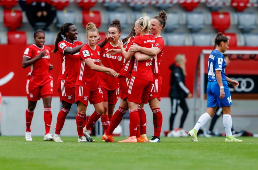 Bayern Munich women celebrates after scoring fifth goal against SC Sand Women. (Photo by Roland Krivec/DeFodi Images via Getty Images)