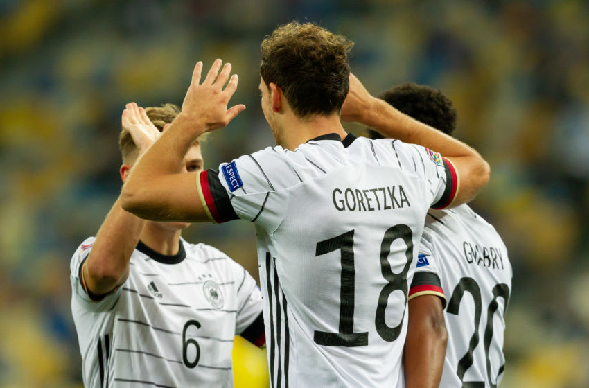 FC Bayern Munich midfielder Leon Goretzka celebrating for Germany. (Photo by Stanislav Vedmid/DeFodi Images via Getty Images)