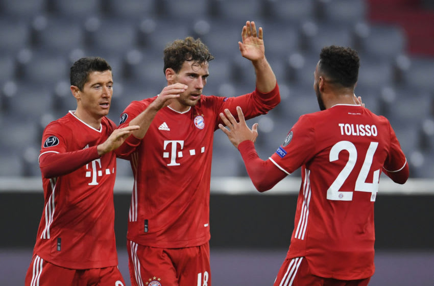 FC Bayern Munich players celebrating against Atletico Madrid. (Photo by ANDREAS GEBERT / POOL / AFP) (Photo by ANDREAS GEBERT/POOL/AFP via Getty Images)