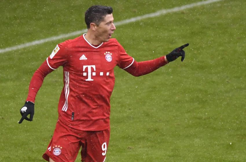 Bayern Munich forward Robert Lewandowski was in fine form against Freiburg in the Bundesliga. (Photo by LUKAS BARTH-TUTTAS/POOL/AFP via Getty Images)