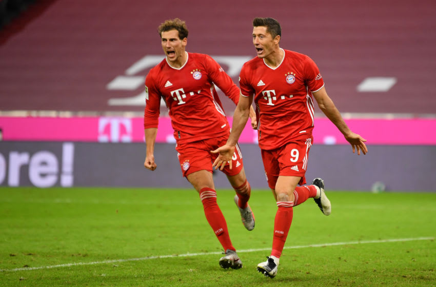 Robert Lewandowski and Leon Goretzka celebrating for FC Bayern Munich. (Photo by Sebastian Widmann/Getty Images)