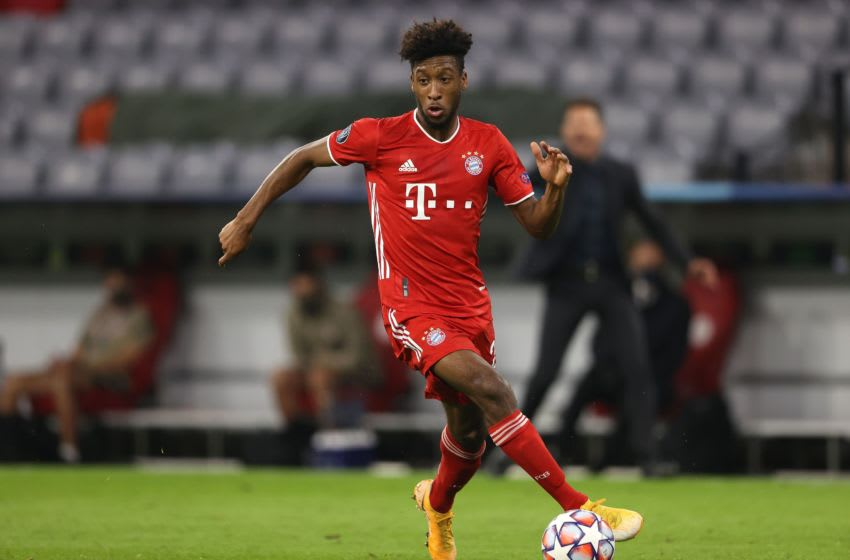 FC Bayern Munich winger Kingsley Coman in action against Atletico Madrid. (Photo by Alexander Hassenstein/Getty Images)