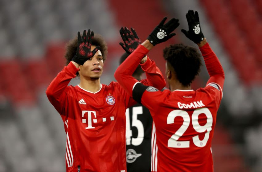 Leroy Sane and Kingsley Coman, Bayern Munich. (Photo by Alexander Hassenstein/Getty Images)