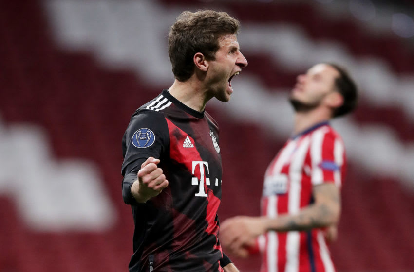 Thomas Muller comes to the rescue for Bayern Munich against Atletico Madrid. (Photo by Gonzalo Arroyo Moreno/Getty Images)