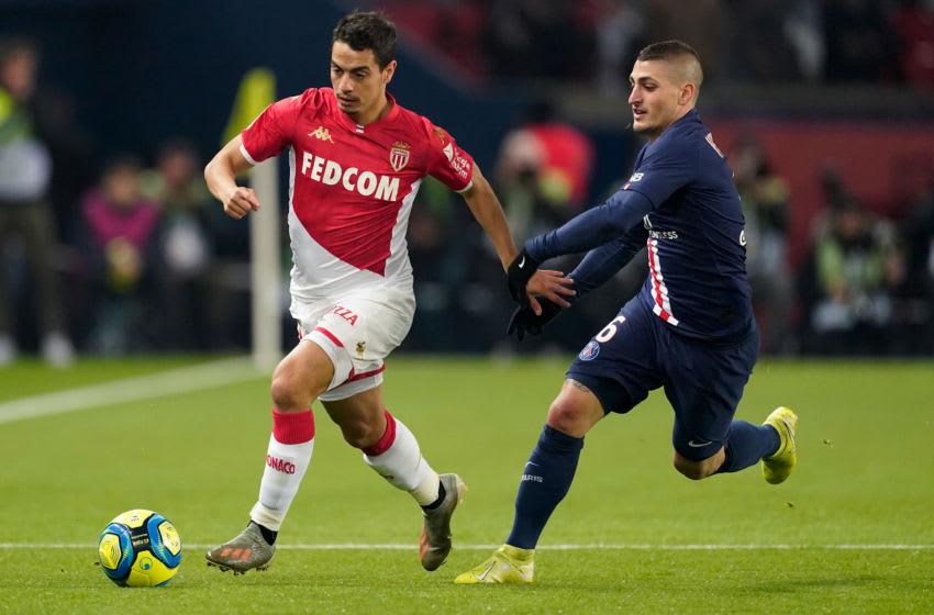 Wissam Ben Yedder, AS Monaco and Marco Verratti, Paris Saint-Germain . (Photo by Jeroen Meuwsen/Soccrates/Getty Images)