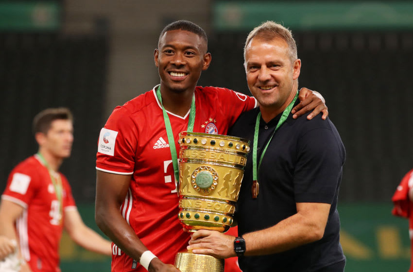 David Alaba and Hansi Flick, Bayern Munich. (Photo by Alexander Hassenstein/Getty Images)