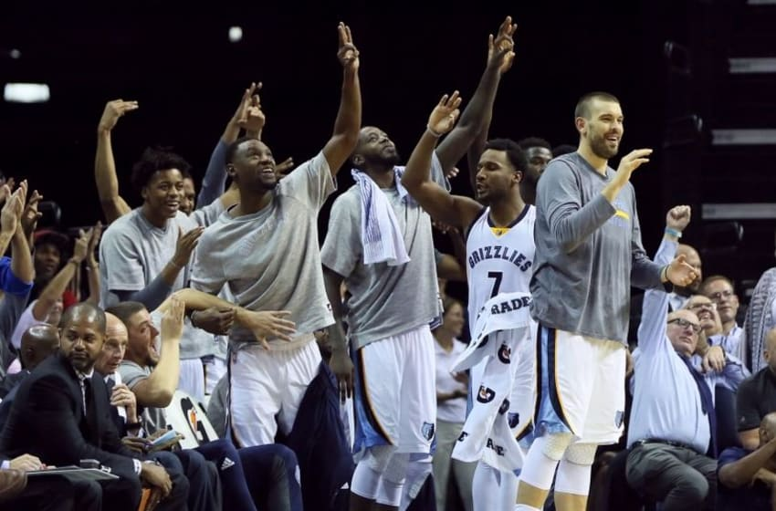 Oct 11, 2016; Memphis, TN, USA; Memphis Grizzlies guard Tony Allen (second from left) and center Marc Gasol (far right) react after a three point shot in the second half against the Philadelphia 76ers at FedExForum. Memphis defeated Philadelphia 121-91. Mandatory Credit: Nelson Chenault-USA TODAY Sports