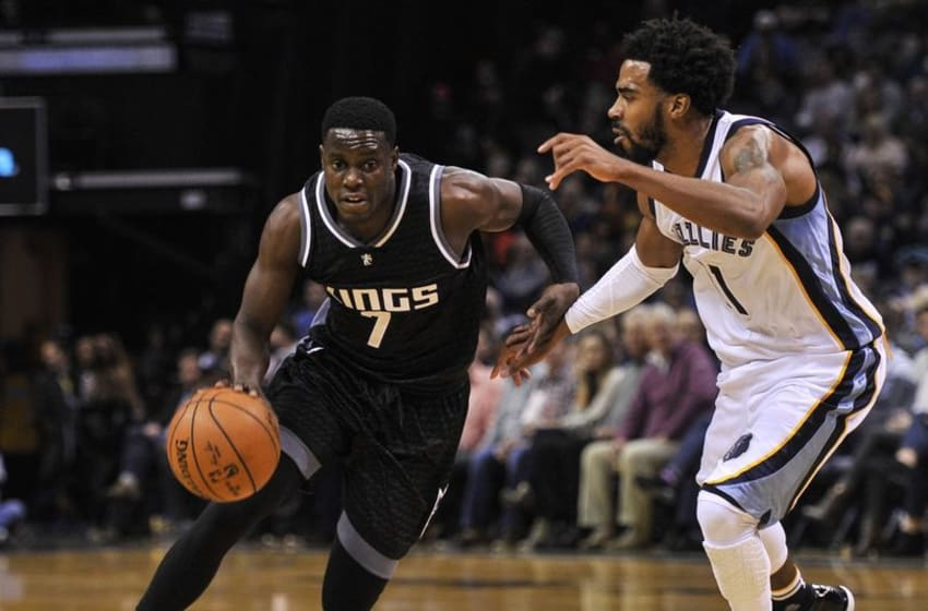 Dec 16, 2016; Memphis, TN, USA; Sacramento Kings goes to the basket against Memphis Grizzlies guard Mike Conley (11) during the second half at FedExForum. Sacramento Kings defeated the against the Memphis Grizzlies 96-92. Mandatory Credit: Justin Ford-USA TODAY Sports