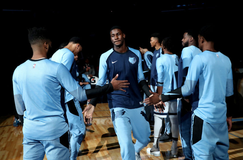 MEMPHIS, TN - OCTOBER 12: Jaren Jackson Jr. #13 of the Memphis Grizzlies gets introduced before the game against the Houston Rockets on October 12, 2018 at FedExForum in Memphis, Tennessee. NOTE TO USER: User expressly acknowledges and agrees that, by downloading and or using this photograph, User is consenting to the terms and conditions of the Getty Images License Agreement. Mandatory Copyright Notice: Copyright 2018 NBAE (Photo by Joe Murphy/NBAE via Getty Images)