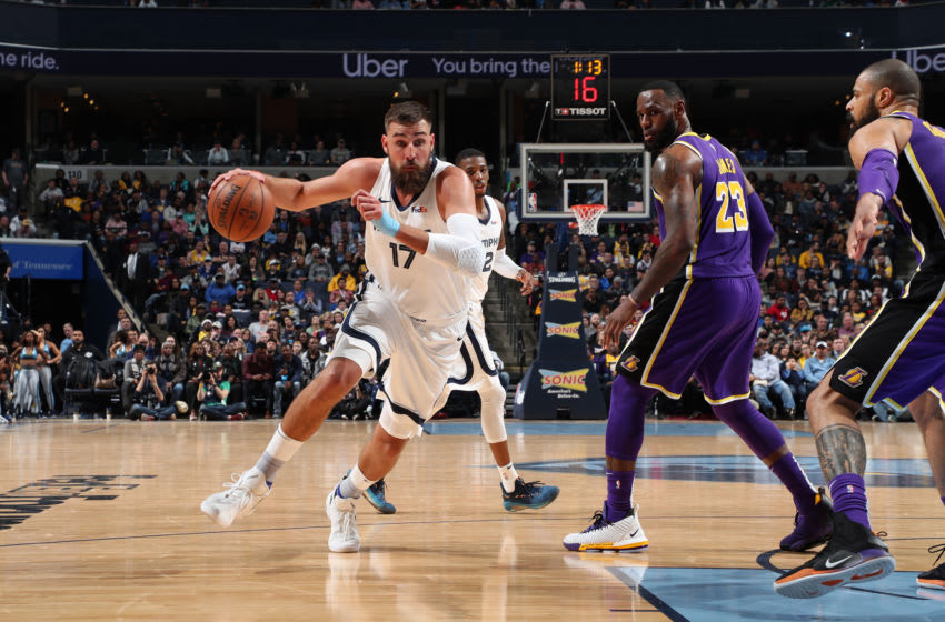 MEMPHIS, TN - FEBRUARY 25: Jonas Valanciunas #17 of the Memphis Grizzlies handles the ball against the Los Angeles Lakers on February 25, 2019 at FedExForum in Memphis, Tennessee. NOTE TO USER: User expressly acknowledges and agrees that, by downloading and or using this photograph, User is consenting to the terms and conditions of the Getty Images License Agreement. Mandatory Copyright Notice: Copyright 2019 NBAE (Photo by Joe Murphy/NBAE via Getty Images)