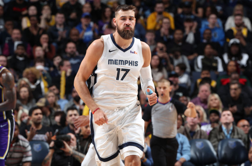 MEMPHIS, TN - FEBRUARY 25: Jonas Valanciunas #17 of the Memphis Grizzlies is seen during the game against the Los Angeles Lakers on February 25, 2019 at FedExForum in Memphis, Tennessee. NOTE TO USER: User expressly acknowledges and agrees that, by downloading and or using this photograph, User is consenting to the terms and conditions of the Getty Images License Agreement. Mandatory Copyright Notice: Copyright 2019 NBAE (Photo by Joe Murphy/NBAE via Getty Images)
