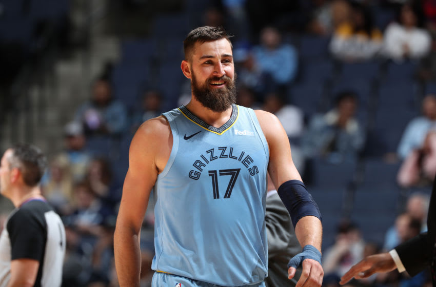 MEMPHIS, TN - MARCH 10: Jonas Valanciunas #17 of the Memphis Grizzlies smiles against the Orlando Magic on March 10, 2019 at FedExForum in Memphis, Tennessee. NOTE TO USER: User expressly acknowledges and agrees that, by downloading and or using this photograph, User is consenting to the terms and conditions of the Getty Images License Agreement. Mandatory Copyright Notice: Copyright 2019 NBAE (Photo by Joe Murphy/NBAE via Getty Images)