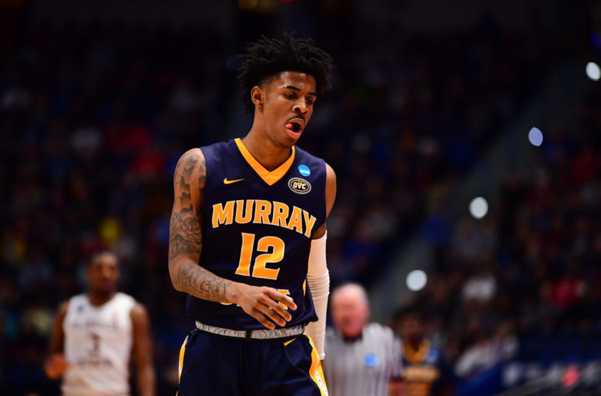 HARTFORD, CT - MARCH 23: Ja Morant #12 of the Murray State Racers reacts during game against the Florida State Seminoles in the second round of the 2019 NCAA Men's Basketball Tournament held at XL Center on March 23, 2019 in Hartford, Connecticut. (Photo by Ben Solomon/NCAA Photos via Getty Images)