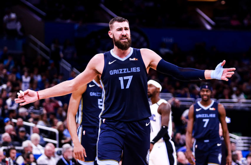 ORLANDO, FLORIDA - MARCH 22: Jonas Valanciunas #17 of the Memphis Grizzlies responds to being fouled against the Orlando Magic in the fourth quarter at Amway Center on March 22, 2019 in Orlando, Florida. NOTE TO USER: User expressly acknowledges and agrees that, by downloading and or using this photograph, User is consenting to the terms and conditions of the Getty Images License Agreement. (Photo by Harry Aaron/Getty Images)
