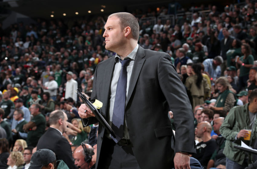 MILWAUKEE, WI - MAY 17: Assistant Coach Taylor Jenkins of the Milwaukee Bucks looks on against the Toronto Raptors during Game Two of the Eastern Conference Finals on May 17, 2019 at the Fiserv Forum in Milwaukee, Wisconsin. NOTE TO USER: User expressly acknowledges and agrees that, by downloading and/or using this photograph, user is consenting to the terms and conditions of the Getty Images License Agreement. Mandatory Copyright Notice: Copyright 2019 NBAE (Photo by Nathaniel S. Butler/NBAE via Getty Images)