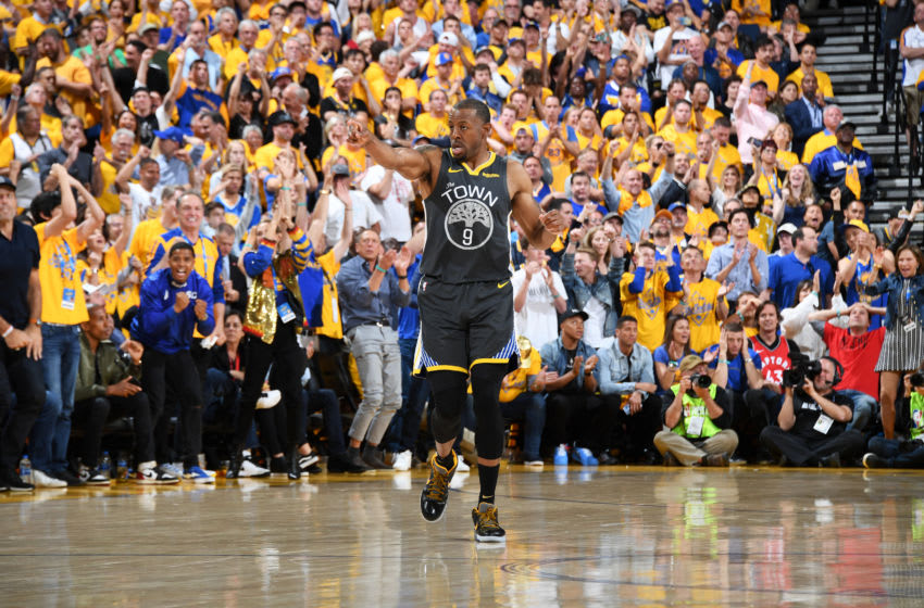 OAKLAND, CA - JUNE 13: Andre Iguodala #9 of the Golden State Warriors reacts to a play during Game Six of the NBA Finals against the Toronto Raptors on June 13, 2019 at ORACLE Arena in Oakland, California. NOTE TO USER: User expressly acknowledges and agrees that, by downloading and/or using this photograph, user is consenting to the terms and conditions of Getty Images License Agreement. Mandatory Copyright Notice: Copyright 2019 NBAE (Photo by Andrew D. Bernstein/NBAE via Getty Images)
