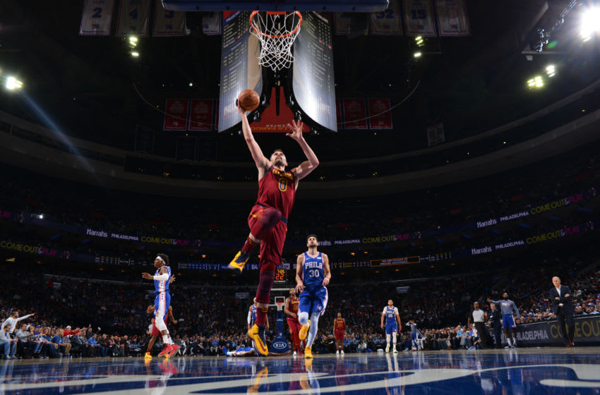 PHILADELPHIA, PA - NOVEMBER 12: Kevin Love #0 of the Cleveland Cavaliers dunks the ball against the Philadelphia 76ers on November 10, 2019 at the Wells Fargo Center in Philadelphia, Pennsylvania NOTE TO USER: User expressly acknowledges and agrees that, by downloading and/or using this Photograph, user is consenting to the terms and conditions of the Getty Images License Agreement. Mandatory Copyright Notice: Copyright 2019 NBAE (Photo by Jesse D. Garrabrant/NBAE via Getty Images)