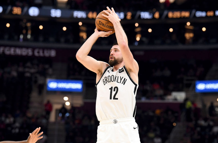 CLEVELAND, OHIO - NOVEMBER 25: Joe Harris #12 of the Brooklyn Nets shoots during the second half against the Cleveland Cavaliers at Rocket Mortgage Fieldhouse on November 25, 2019 in Cleveland, Ohio. The Nets defeated the Cavaliers 108-106. NOTE TO USER: User expressly acknowledges and agrees that, by downloading and/or using this photograph, user is consenting to the terms and conditions of the Getty Images License Agreement. (Photo by Jason Miller/Getty Images)