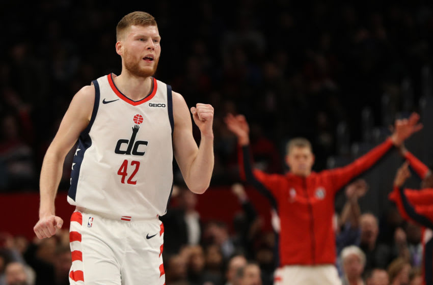 WASHINGTON, DC - DECEMBER 05: Davis Bertans #42 of the Washington Wizards reacts against the Philadelphia 76ers during the first half at Capital One Arena on December 5, 2019 in Washington, DC. NOTE TO USER: User expressly acknowledges and agrees that, by downloading and or using this photograph, User is consenting to the terms and conditions of the Getty Images License Agreement. (Photo by Patrick Smith/Getty Images)