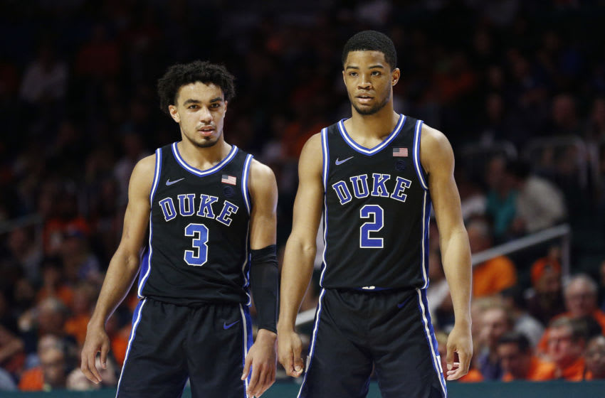 MIAMI, FLORIDA - JANUARY 04: Tre Jones #3 and Cassius Stanley #2 of the Duke Blue Devils look on against the Miami Hurricanes during the second half at the Watsco Center on January 04, 2020 in Miami, Florida. (Photo by Michael Reaves/Getty Images)