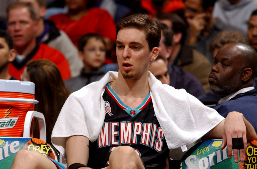WASHINGTON, DC - APRIL 5 : Pau Gasol #16 of the Memphis Grizzlies watches the game against the Washington Wizards on April 5, 2002 at the MCI Center in Washington DC. NOTE TO USER: User expressly acknowledges and agrees that, by downloading and or using this photograph, User is consenting to the terms and conditions of the Getty Images License Agreement. (Photo by G Fiume/Getty Images)