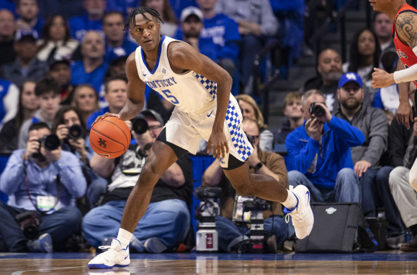LEXINGTON, KY - FEBRUARY 29: Immanuel Quickley #5 of the Kentucky Wildcats dribbles the ball during the game against the Auburn Tigers at Rupp Arena on February 29, 2020 in Lexington, Kentucky. (Photo by Michael Hickey/Getty Images)