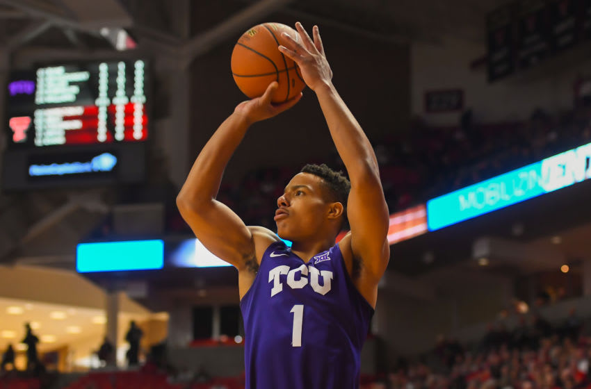 LUBBOCK, TX - MARCH 3: Desmond Bane #1 of the TCU Horned Frogs shoots the ball during the game against the Texas Tech Red Raiders on March 3, 2018 at United Supermarket Arena in Lubbock, Texas. Texas Tech defeated TCU 79-75. Texas Tech defeated TCU 79-75. (Photo by John Weast/Getty Images)