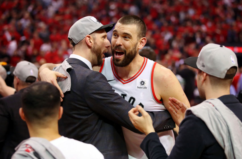 TORONTO, ONTARIO - MAY 25: Marc Gasol #33 of the Toronto Raptors celebrates after defeating the Milwaukee Bucks 100-94 in game six of the NBA Eastern Conference Finals to advance to the 2019 NBA Finals at Scotiabank Arena on May 25, 2019 in Toronto, Canada. NOTE TO USER: User expressly acknowledges and agrees that, by downloading and or using this photograph, User is consenting to the terms and conditions of the Getty Images License Agreement. (Photo by Gregory Shamus/Getty Images)