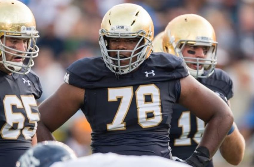 Aug 30, 2014; South Bend, IN, USA; Notre Dame Fighting Irish offensive lineman Ronnie Stanley (78) waits between plays during the game agains the Rice Owls at Notre Dame Stadium. Notre Dame won 48-17. Mandatory Credit: Matt Cashore-USA TODAY Sports