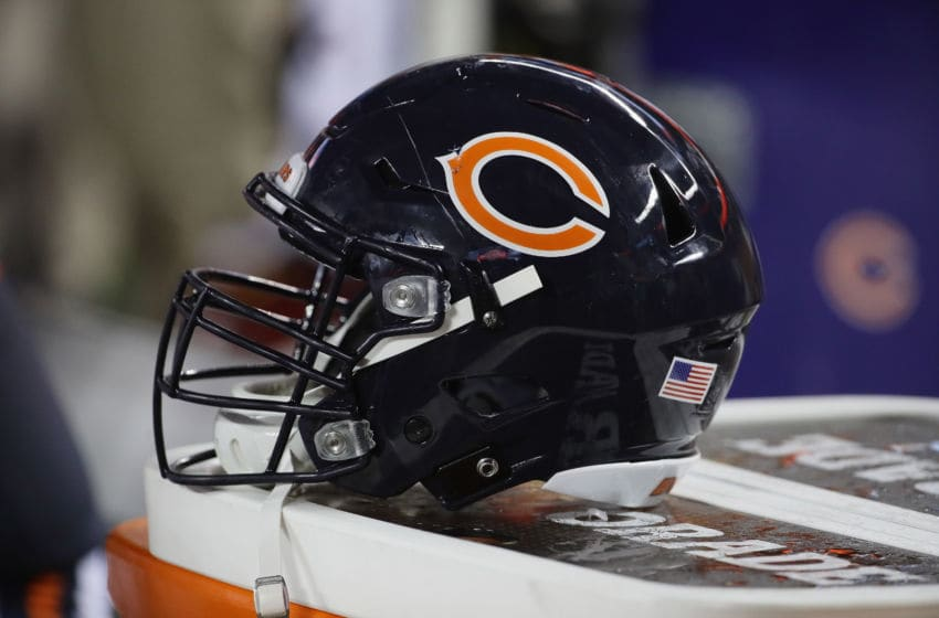 CHICAGO, IL - AUGUST 10: A Chicago Bears helmet is seen in the bench area during a preseason game against the Denver Broncos at Soldier Field on August 10, 2017 in Chicago, Illinois. The Broncos defeated the Bears 24-17. (Photo by Jonathan Daniel/Getty Images)